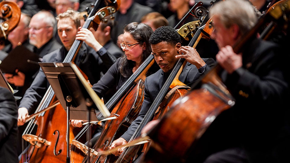 CCM Diversity Fellow playing with the orchestra during a concert
