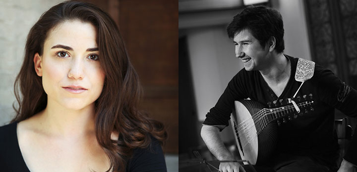 Headshot of vocalist Joelle Harvey and lutenist Thomas Dunford