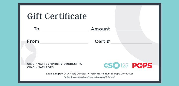 A blank CSO gift certificate