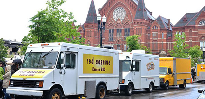 Food Trucks lined up on the street outside Music Hall