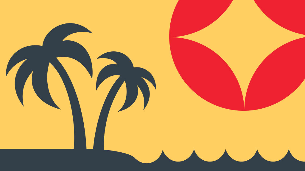 Palm tree and waves clip art with Pops circle logo
