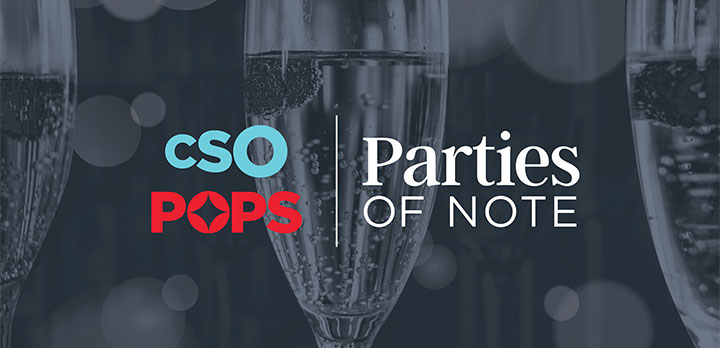 Parties of Note logo over photo of champagne glasses
