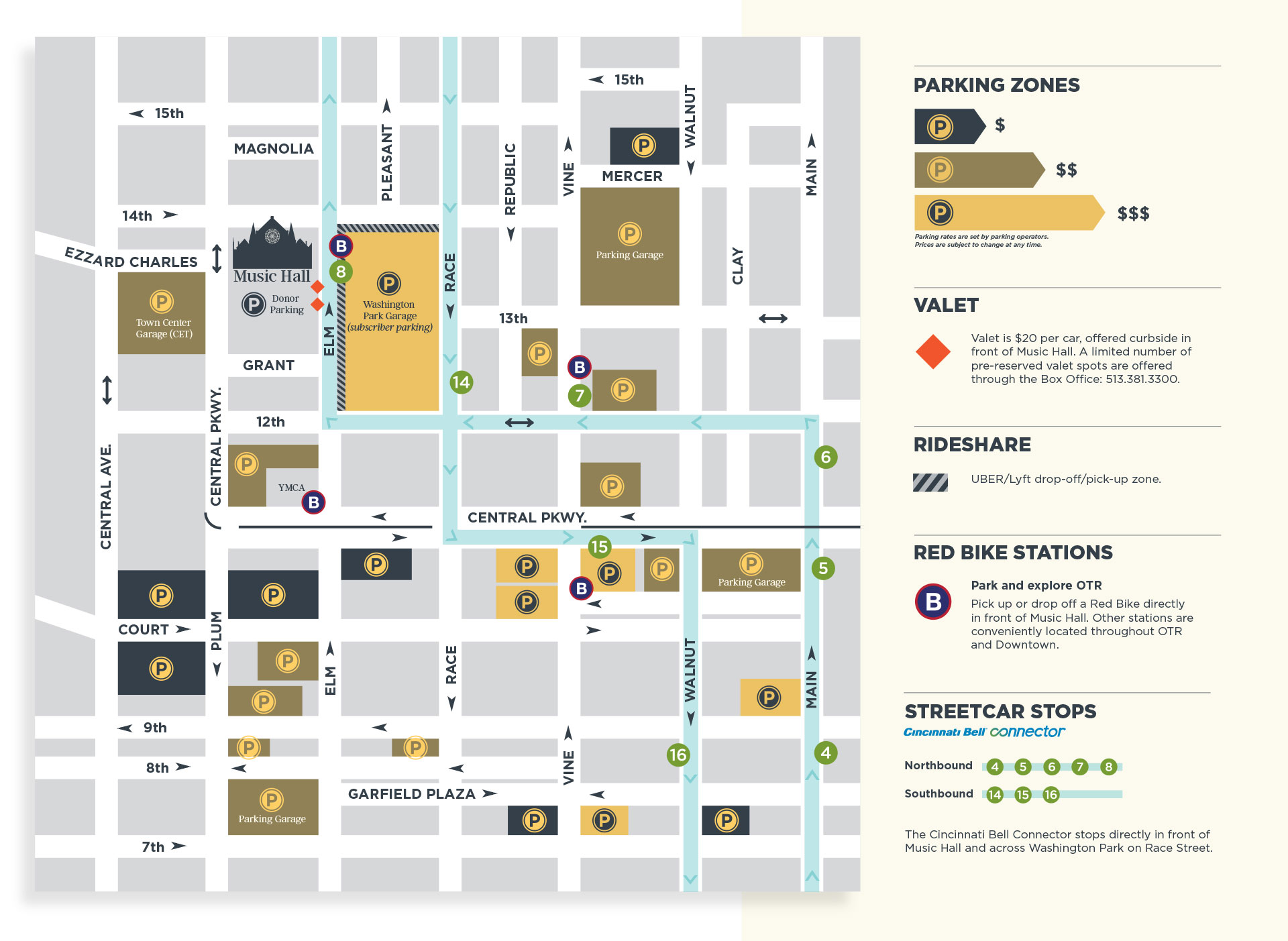 Map of parking options around Music Hall