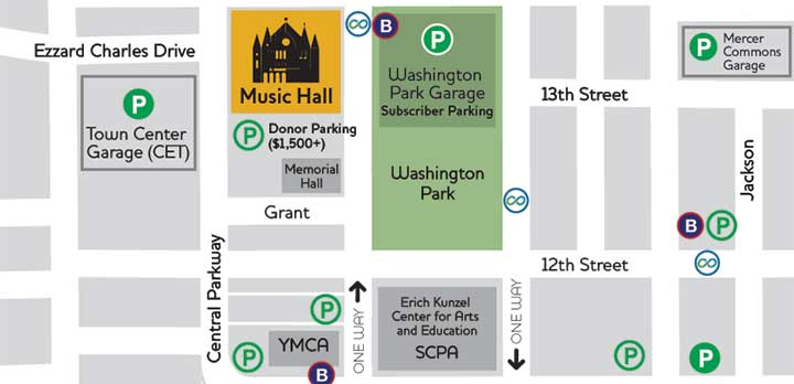 A map of parking opportunities around Music Hall